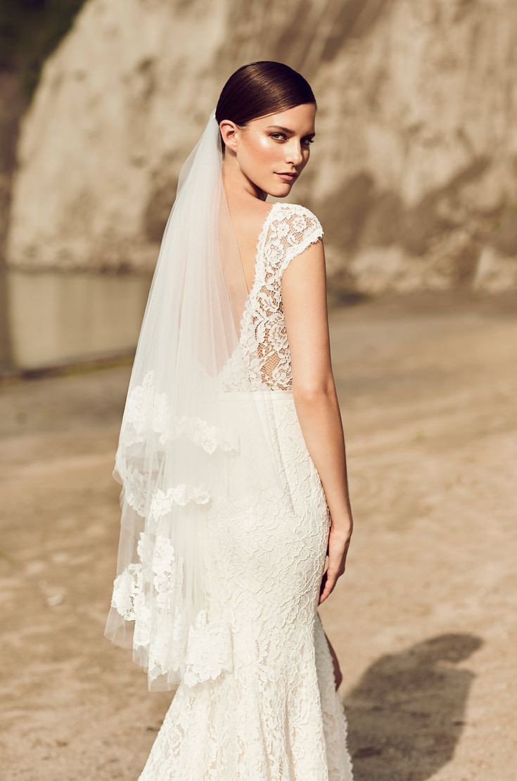 @mikaellabridal | VM475F, Two tier Fingertip length veil with gathers at comb. Mikaella Lace appliqués along edge of bottom layer of veil and blusher.
