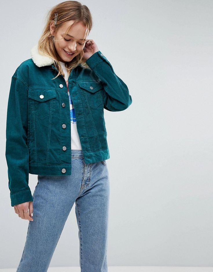ASOS Cord Cropped Jacket in Emerald Green With Detachable Fleece Colla