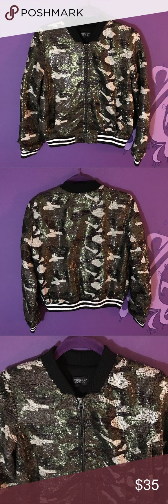 Camouflage Sequins track jacket size 4 topshop Another piece from Topshop. Sequins camouflage jacket. Perfect condition. Look supaflyy in this one. Size 4!   LINK IN BIO!!! #topshop #jacket #camouflage #sequins #trackjacket #coat #womensfashion #womensclothing #luxury #expensive #forsale #depop #poshmark #ebay #size4 #glitter Topshop Jackets & Coats