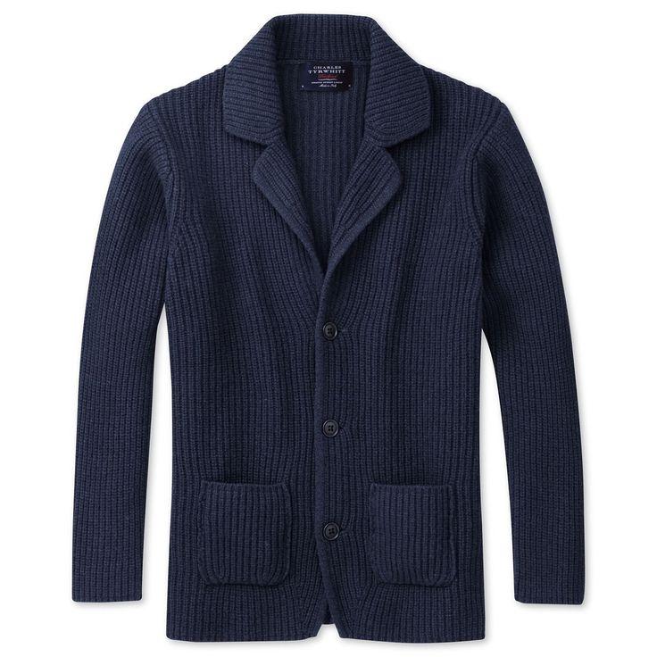 Navy marl fisherman 39 s rib cardigan men 39 s knitwear from for Mens dress shirts charles tyrwhitt