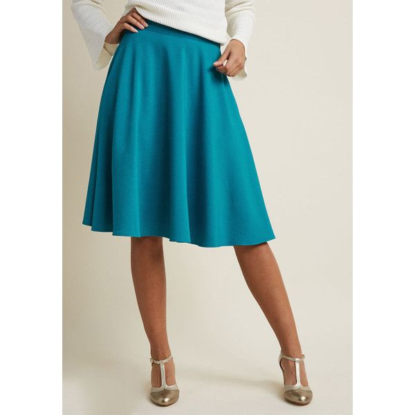 Just This Sway Midi Skirt ($59) ❤ liked on Polyvore featuring skirts, high-waisted flared skirts, high waisted circle skirt, high-waisted skater skirts, blue skirts and midi skirts