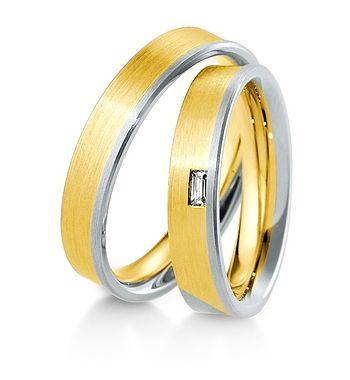 Breuning Trouwringen | Inspiration collectie gouden ringen met of zonder bagette diamant | 4,5mm briljant 0.06ct verkrijgbaar in 8,14 en 18 karaat | 48041750 / 48041760 OOK in wit geel en rood goud verkrijgbaar of in 2 kleuren goud #trouwringen #breuning #trouwen #JDBW #wedding