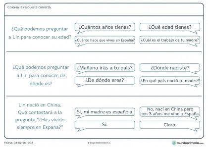 Ficha de respuestas y preguntas para primaria