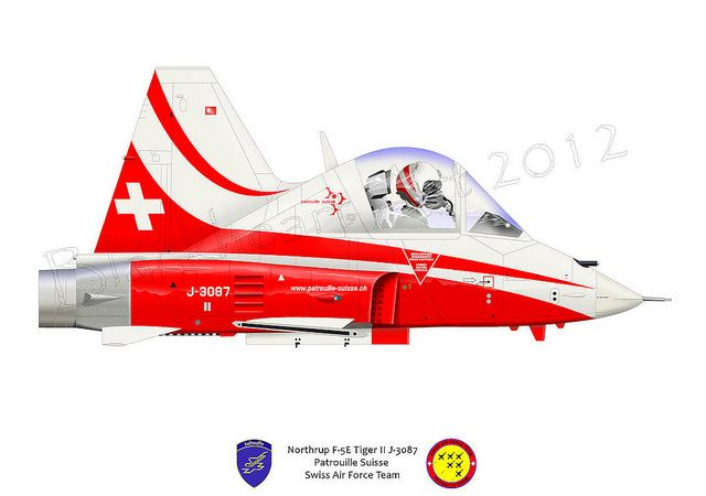 Here is the latest caricature from Blackheart Art, a F-5E Tiger II flown by the Swiss Air Force Demo team.