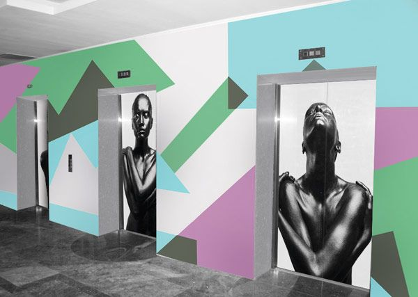 Artistic elevator wall murals visually disrupting work for Pixers your walls and stuff