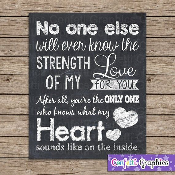 Baby Nursery Quote No One Else Will Ever Know The Strength Of Etsy Nursery Quotes Chalkboard Wall Art Heart Sounds