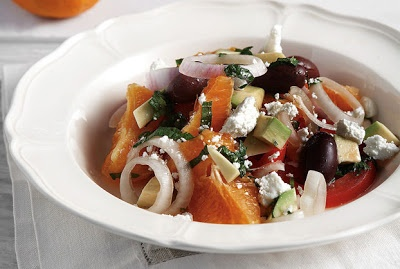Amateur Cook Professional Eater - Greek recipes cooked again and again: Special savoury orange salad with Manouri cheese
