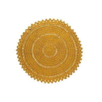 Varanassi Tapis rond jaune moutarde