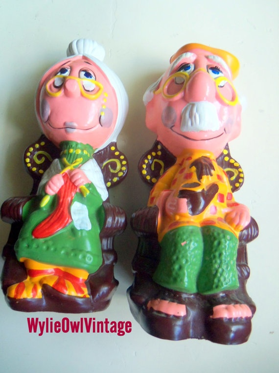 Vintage Grandma and Grandpa Piggy Bank Set by WylieOwlVintage, $18.00: Piggy Bank