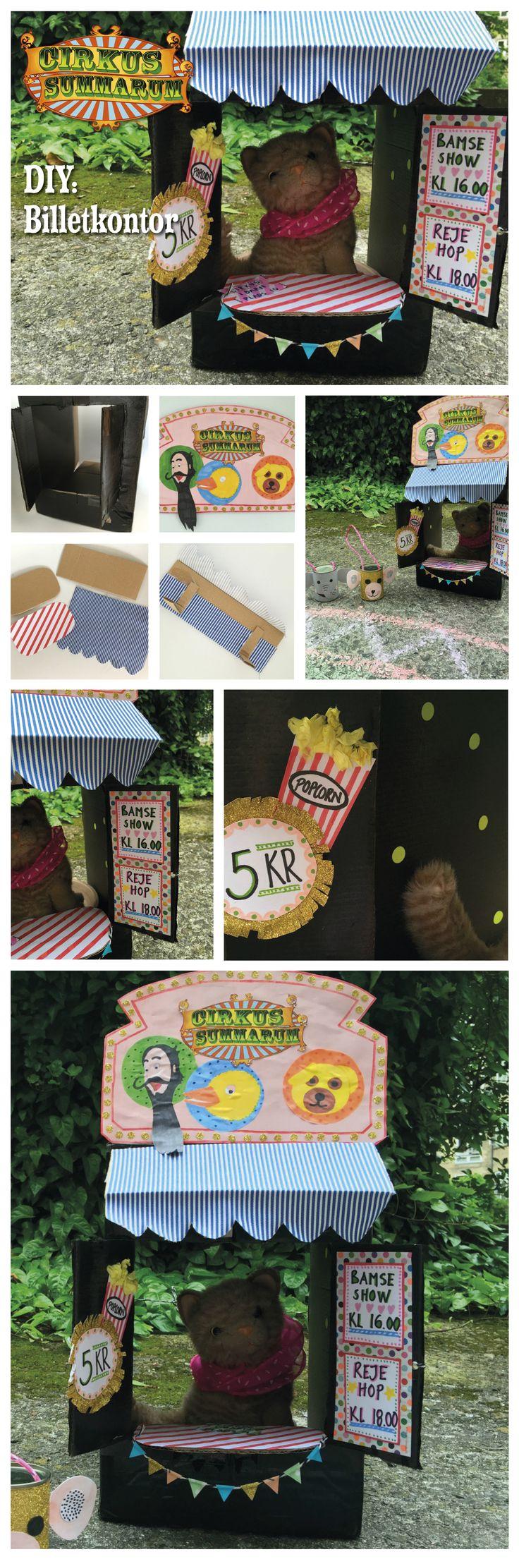 DIY dit eget billetkontor til dine bamser eller dukker. Læs mere påp www.cirkussummarum.dk. DIY'en er lavet af @LeizyB