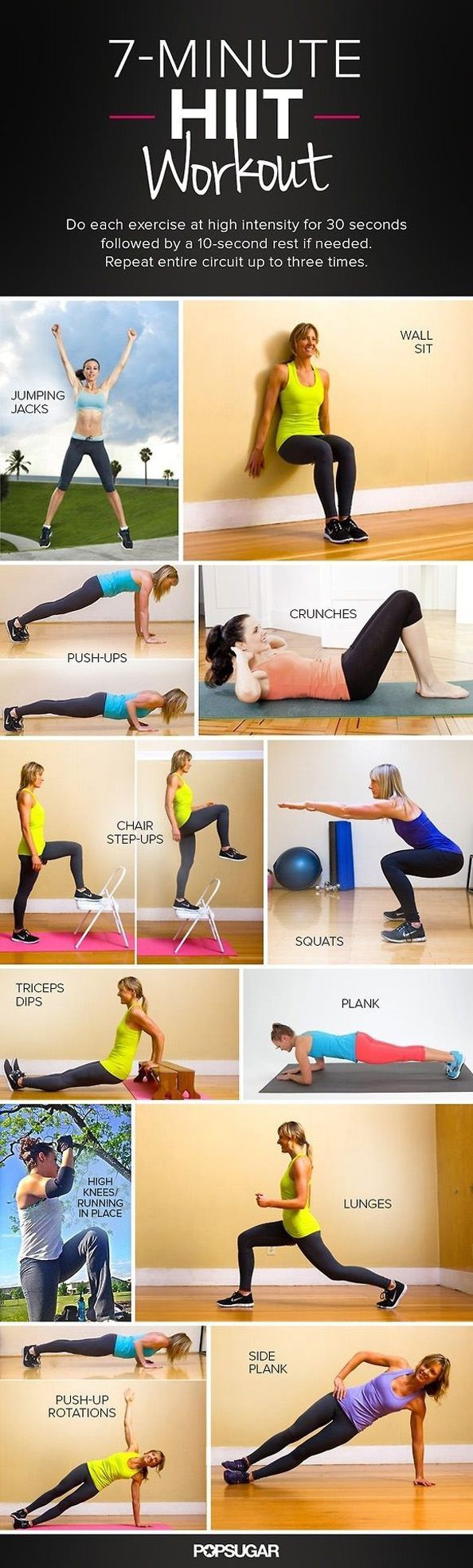 SEVEN MINUTE HIIT WORKOUT ~~~ circuit workout to be run three times at high intensity developed by the the american college of sports medicine.