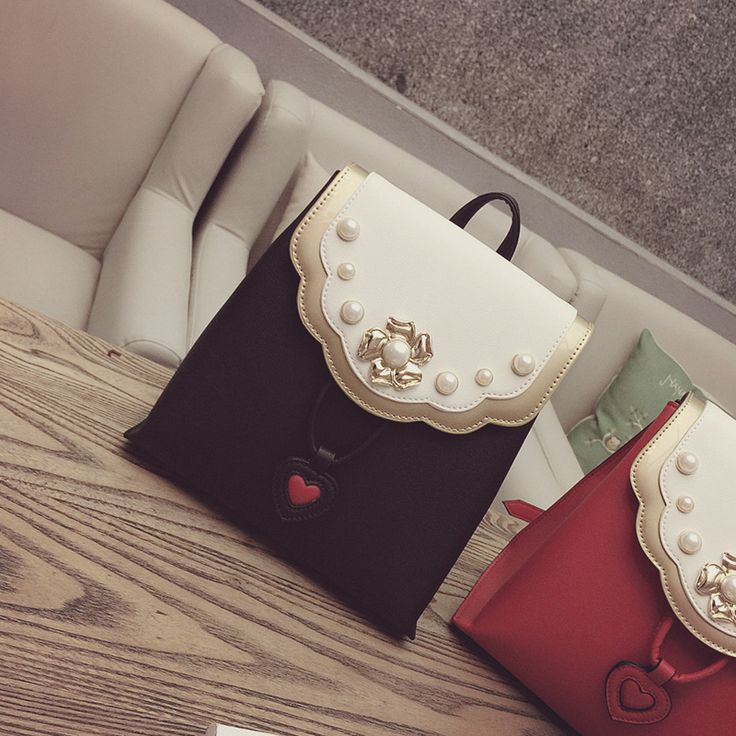 2017 Real Mochilas Backpack Sale Kpop Summer New Fashionable Pearl Decoration Leisure Bags Color All-match Female College Wind