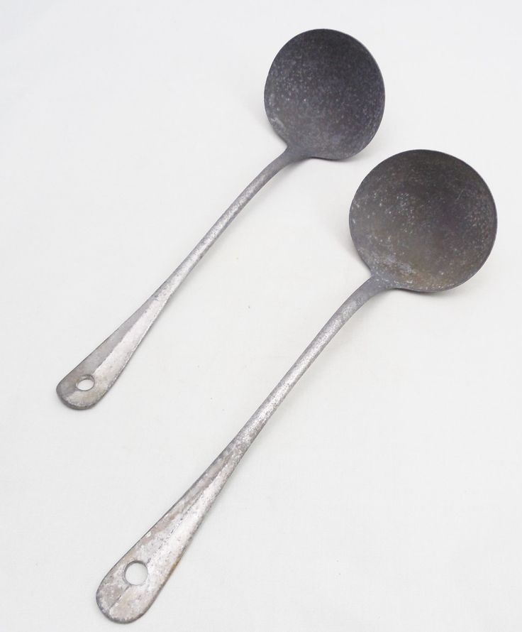 """2 Aluminum Ladles, 9"""" Vintage Aluminum Ladles Made In Germany, Rustic Ladles by ShellyisVintage on Etsy"""