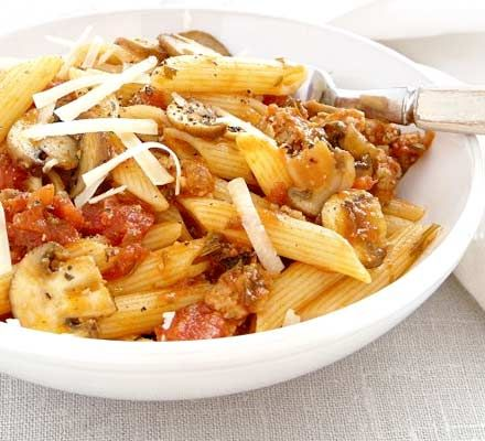 Quick sausage Bolognese. Pasta, sauce, and sausages, what could be a better combination? The sausage meat adds great flavour to a simple dish