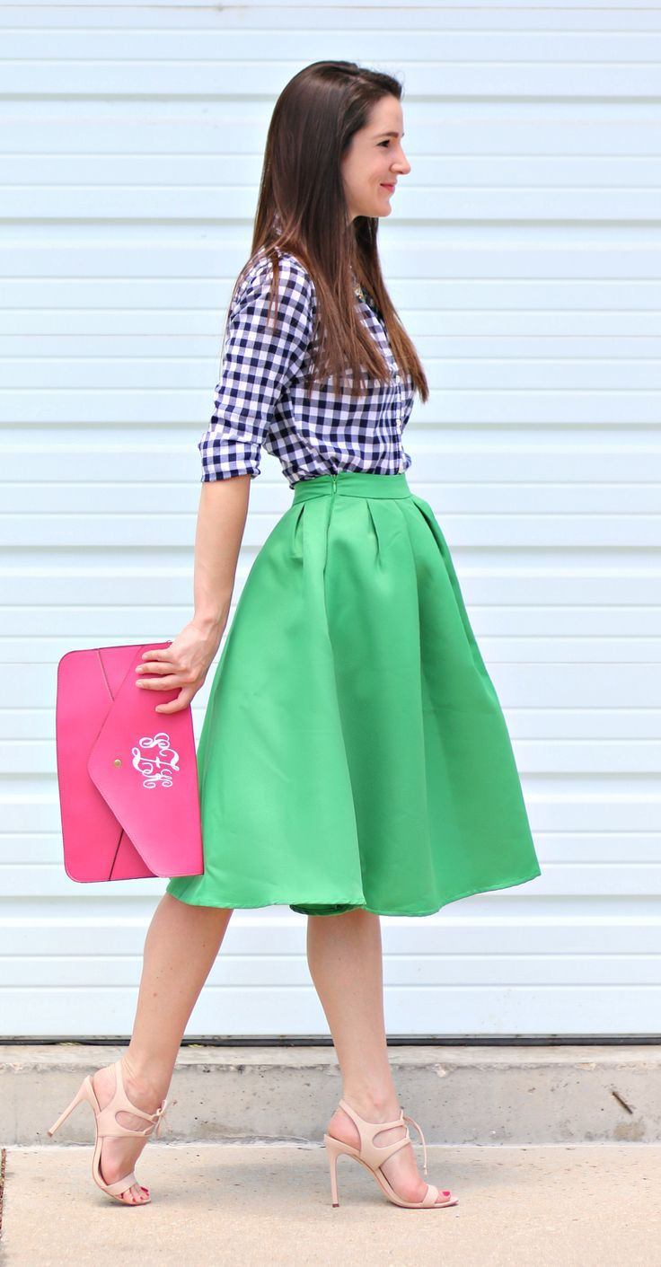 e6d33959546f Flared kelly green midi skirt with a blue gingham button down, pink  monogrammed clutch,
