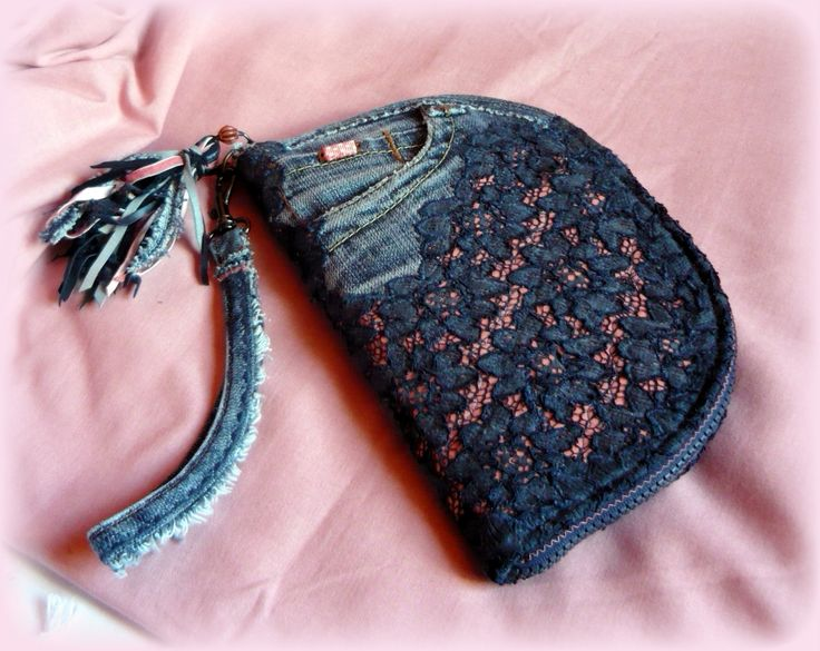 Handmade by Judy Majoros - Denim lace-fringe wallet-clutch with beaded-leather fringe. Recycled wallet-bag.