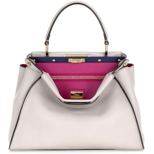 Fendi Peekaboo Medium Tote Bag (5 867 AUD) ❤ liked on Polyvore featuring bags, handbags, tote bags, nude, totes, tote, purse, fendi purses and white tote