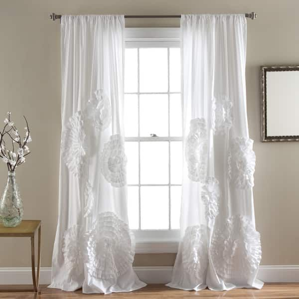 Silver Orchid Ince Flora Curtain Panel Drapes Curtains White