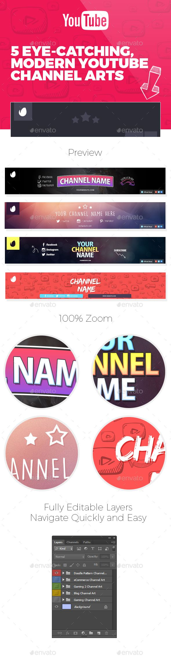 5 Youtube Channel Arts Template PSD. Download here: http://graphicriver.net/item/5-youtube-channel-arts/16065465?ref=ksioks