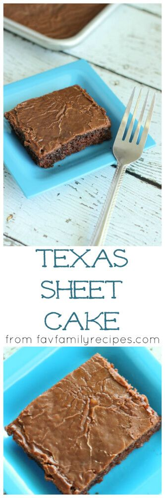 This Texas Sheet Cake is one of my favorite dessert recipes from my mom. This cake is so moist and yummy and feeds a crowd! via @favfamilyrecipz