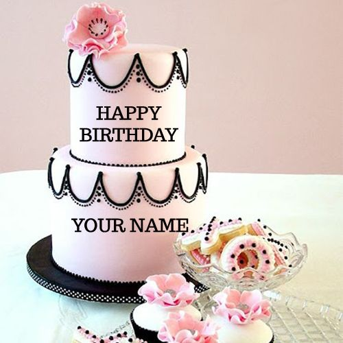 Write Your Name On Pink Flowers Wedding Cake Free
