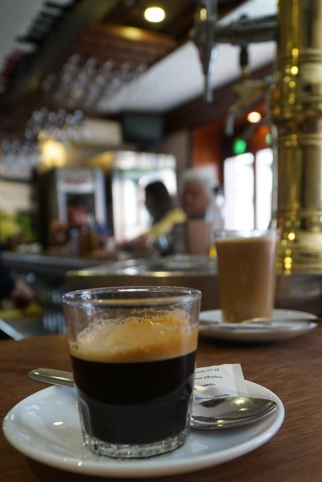 The confusion world of Spanish coffee, all cleared up for you: Cafe solo and cafe con leche in a cafe in the Albaicin in Granada