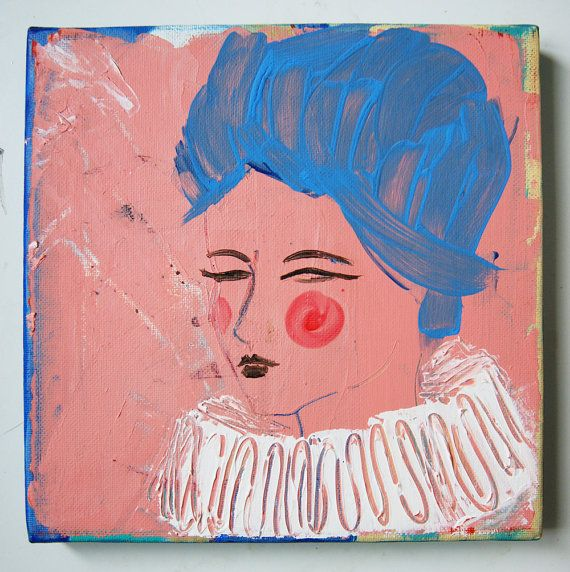 Hrabina - Countess-original work, author's portrait, decoration, gift, pink
