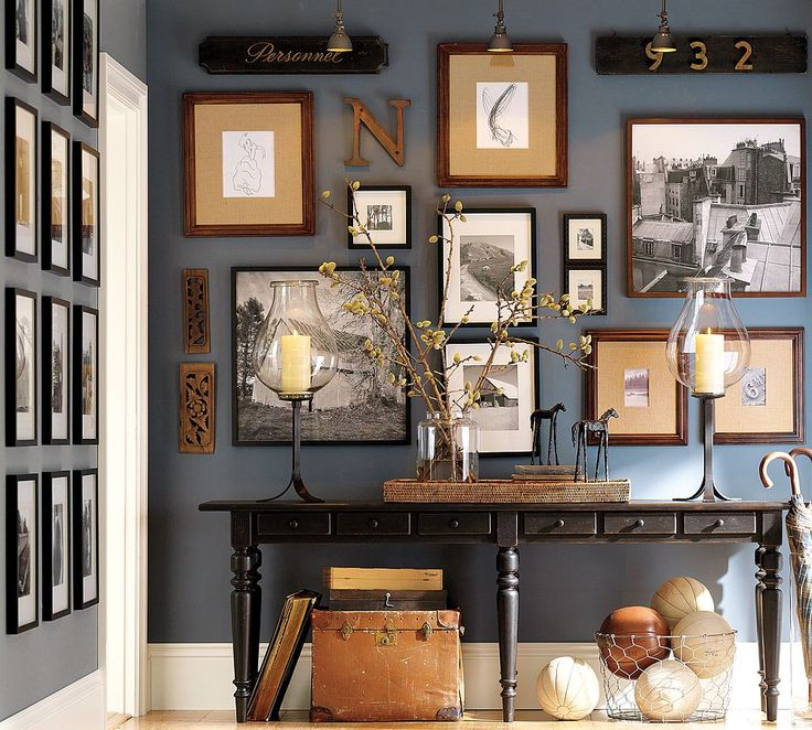 picture frame wall: Wall Colors, Idea, Blue Wall, Frames, Paintings Colors, Grey Wall, Galleries Wall, Photos Wall, Pottery Barns