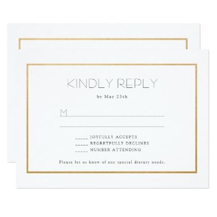 Simple Gold Frame Wedding Rsvp Reply Card Buffet Weddinginvitations Invitations Party Cards Invitation