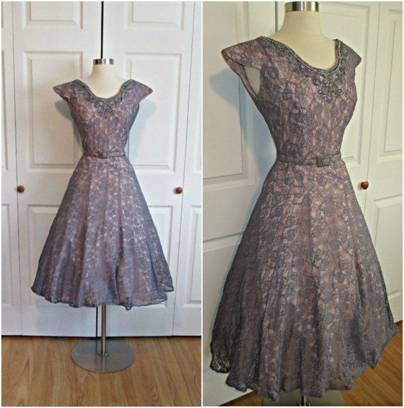 1950's Vintage Blue/Purple and Pink Lace by RubyFayesVintage, $115.00  Adore this. I have to have it. Haley, do you think this would work for rehearsal dinner dress?