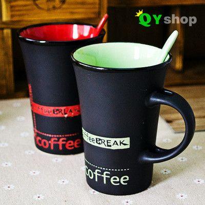Encontre mais Conjuntos de Chá e Café Informações sobre Zakka criativo caneca de cerâmica com colher de café preto mate copo par de xícaras, de alta qualidade caneca de cerâmica, caneca de cerâmica de design China Fornecedores, Barato térmica da caneca de cerâmica de Coffe And Tea Store em Aliexpress.com