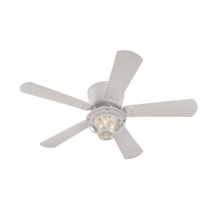 Harbor Breeze Merrimack White Flush Mount Indoor Outdoor Residential Ceiling Fan With Light Kit And Remote