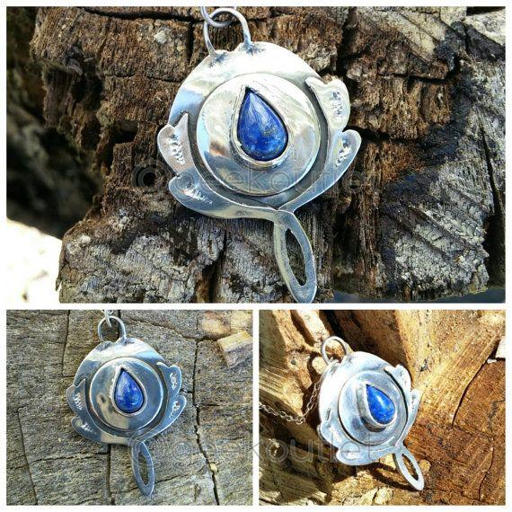 Lapis Lazuli's Mirror Pendant Necklace Sterling by GeekOUTlet