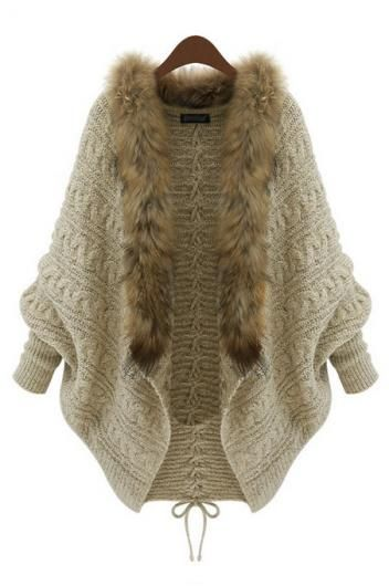 Loose casual long-sleeved sweater with faux fur. love the detailing on the back of this one!