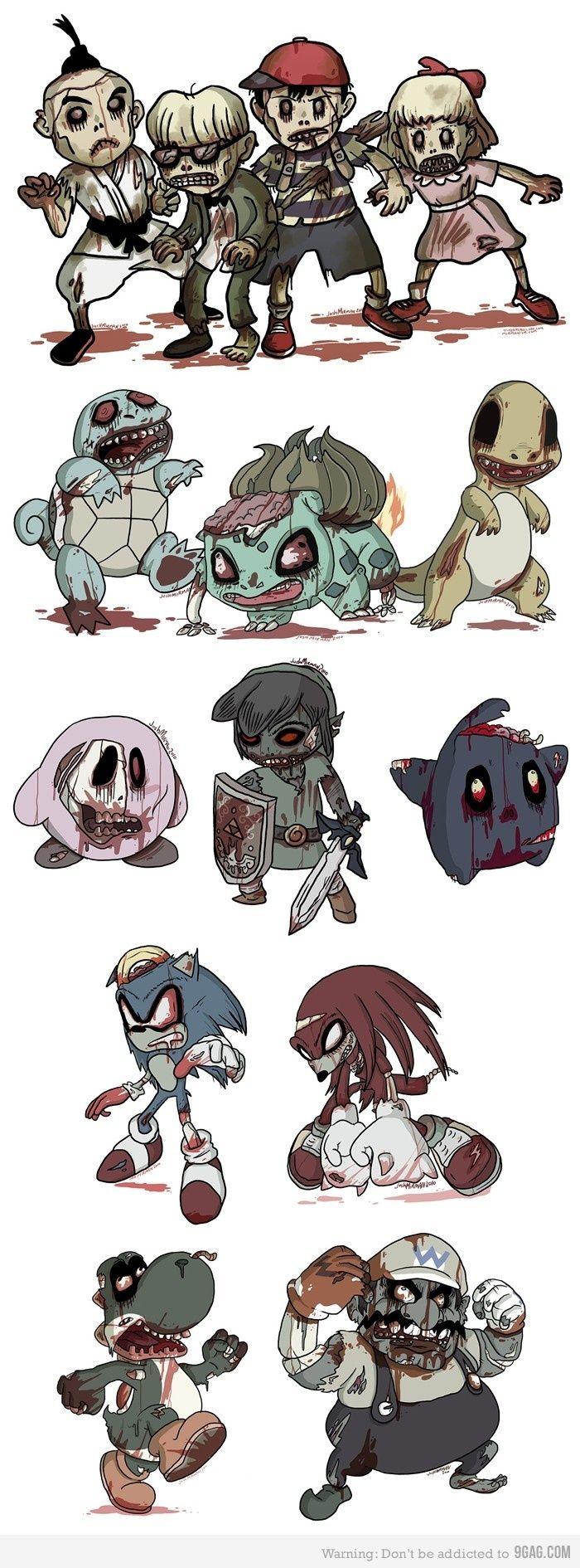 pokemon-sonic-zelda-kirby-link-mario-wario-yoshi-knuckles-charmander-bulbasaur-squirtle zombies