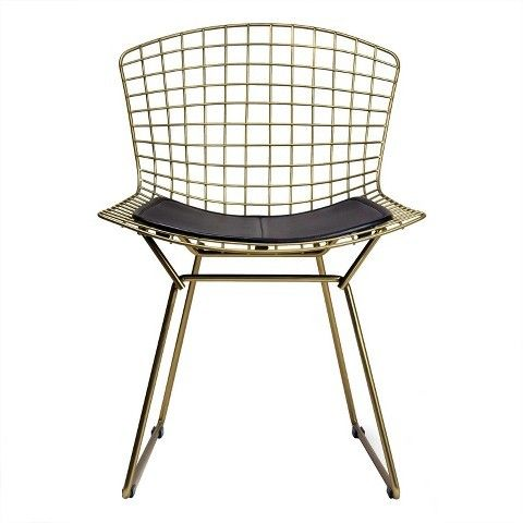 Aeon Aspen Modern Classic Wire Dining Chair with Champagne Finish Steel and Leather Seat Pad - Black