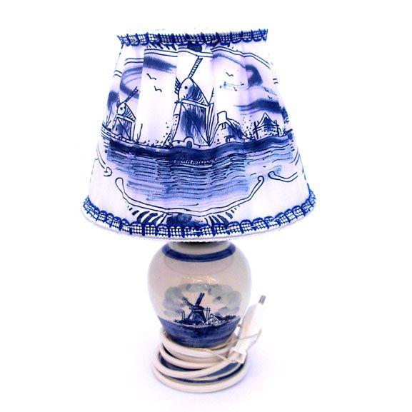 LAMP MET LAMPENKAPJE DELFTS BLAUW 23 CM