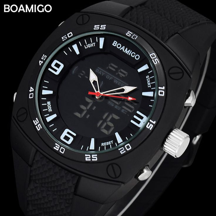 2017 Men Sport Watch Digital Shock Dual Time LED Quartz Luminous Alarm BOAMIGO Wristwatches Outdoor Military Rubber Reloj Hombre