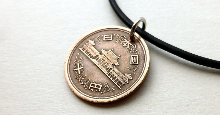 Japanese necklace, Coin necklace, Buddhist necklace, Oriental, Buddhist Temple, Leather necklace, Men's necklace, Japan, Coin pendant, 1976 by CoinStories on Etsy