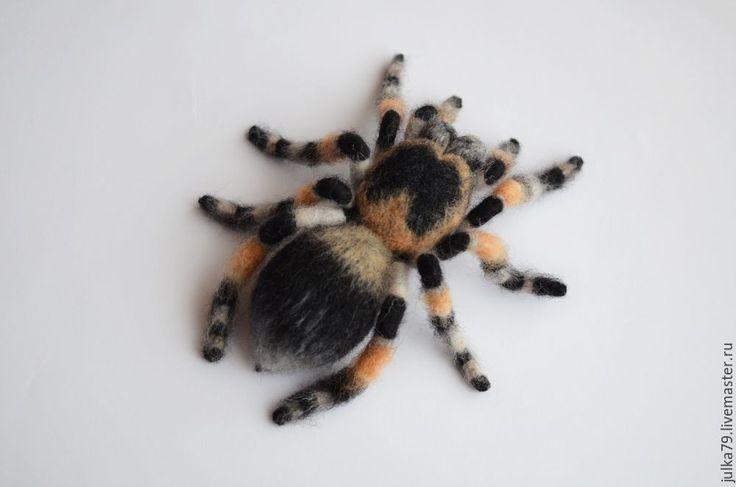 Купить Паучок - темно-серый, тарантул, паук, брошь паук, пауки, паучок, брошь из…