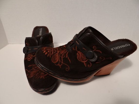 Vintage Wood Clogs/Mules with Embroidery on DK Brown Corduroy and Fur inside Shoes by Madeline Size 8