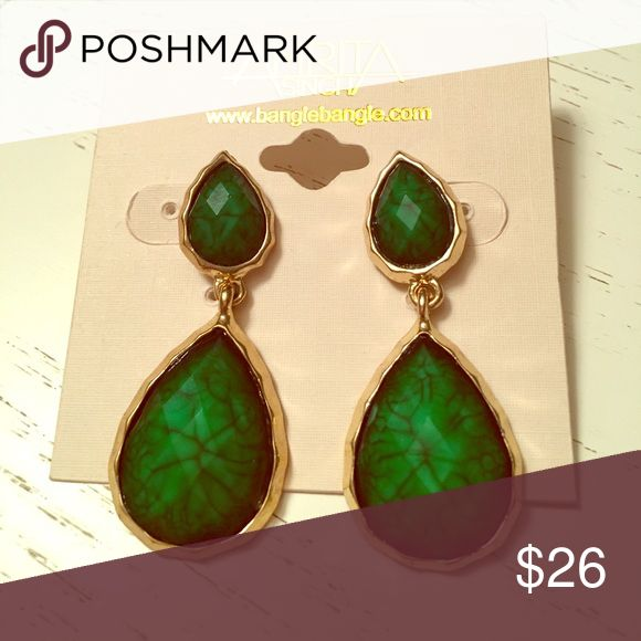 Amrita Singh emerald stone earrings Large Amrita Singh drop earrings with stud backing; emerald stone with metallic gold setting Amrita Singh Jewelry Earrings