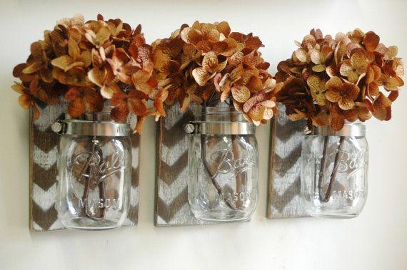 Espresso Chevron Wall Decor Trio Three Mason jars mounted on dark recycled wood shabby chic rustic wall decor