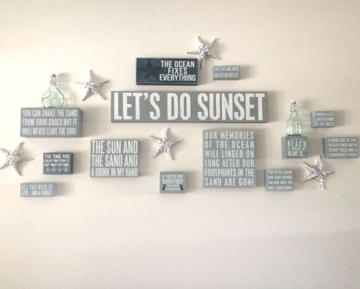 Create a Gallery Wall with Beach Box Signs from Primitives by Kathy: http://www.completely-coastal.com/2014/04/beach-box-signs-Primitives-by-Kathy-Gallery-Wall.html