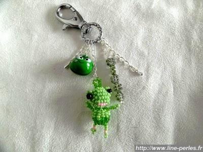 *** Bijou de sac ~ Grenouille ~ Vert *** 100% fait main *** http://www.line-perles.fr/catalog/product_info.php?cPath=89_124_id=663