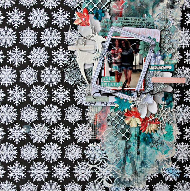 """2Crafty Chipboard - """"Ugly Sweater Love' layout by Tammy Klingner"""