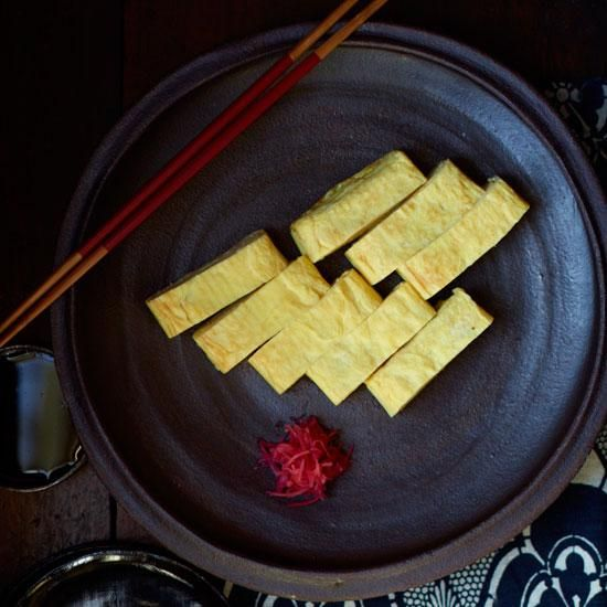 "Japanese-Style Folded Omelet | Sylvan Mishima Brackett uses a rectangular skillet specifically designed for making this thick sweet-and-savory omelet, called dashimaki tamago. The method takes some practice, and watching the ""easy tamago tutorial"" by japanese1cooking on YouTube can help."
