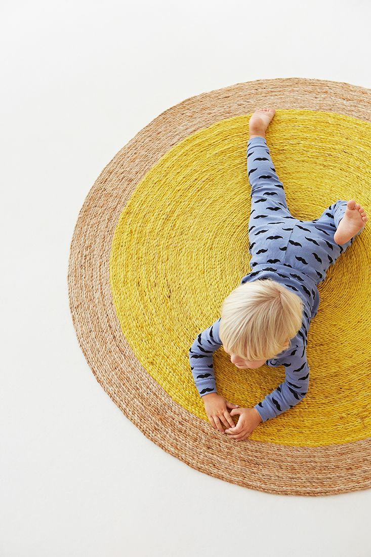 Armadillo&Co | Junior Collection Pinwheel rug in Natural/Canary - see more at: www.armadillo-co.com