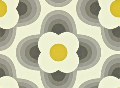 Striped Petal (110402) - Orla Kiely Wallpapers - Retro stylised flower heads in a 70s feel. Shown in a yellow and grey on off white - more colours are available. Please request a sample for true colour match. Paste-the-wall product.