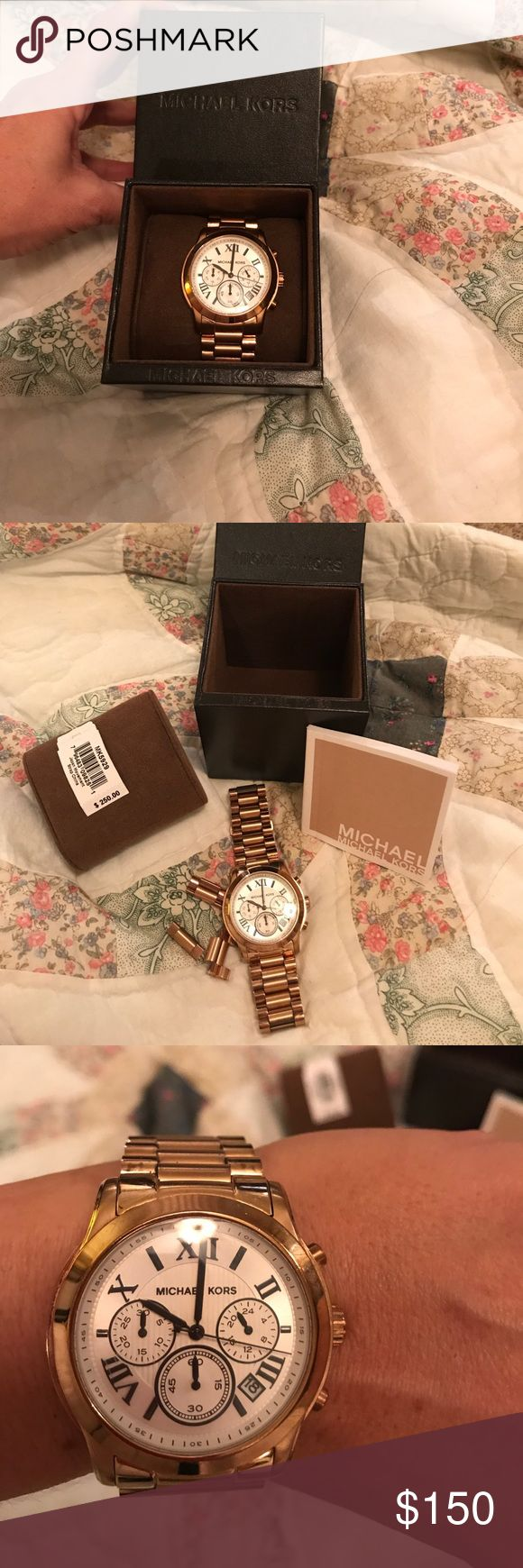 Rose Gold Michael Kors watch Beautiful rose gold Michael Kors watch. Has white face with Roman numerals and features date and military time. Comes with box booklet and extra links. This does need a new battery. KORS Michael Kors Accessories Watches